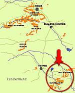 シャンパーニュ地方のワインマップ