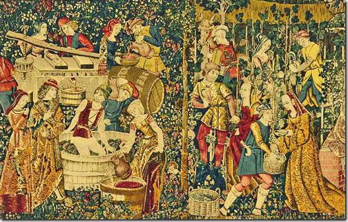 ブドウ収穫 (16世紀初頭のタペストリー) クリュニー博物館(パリ市)
